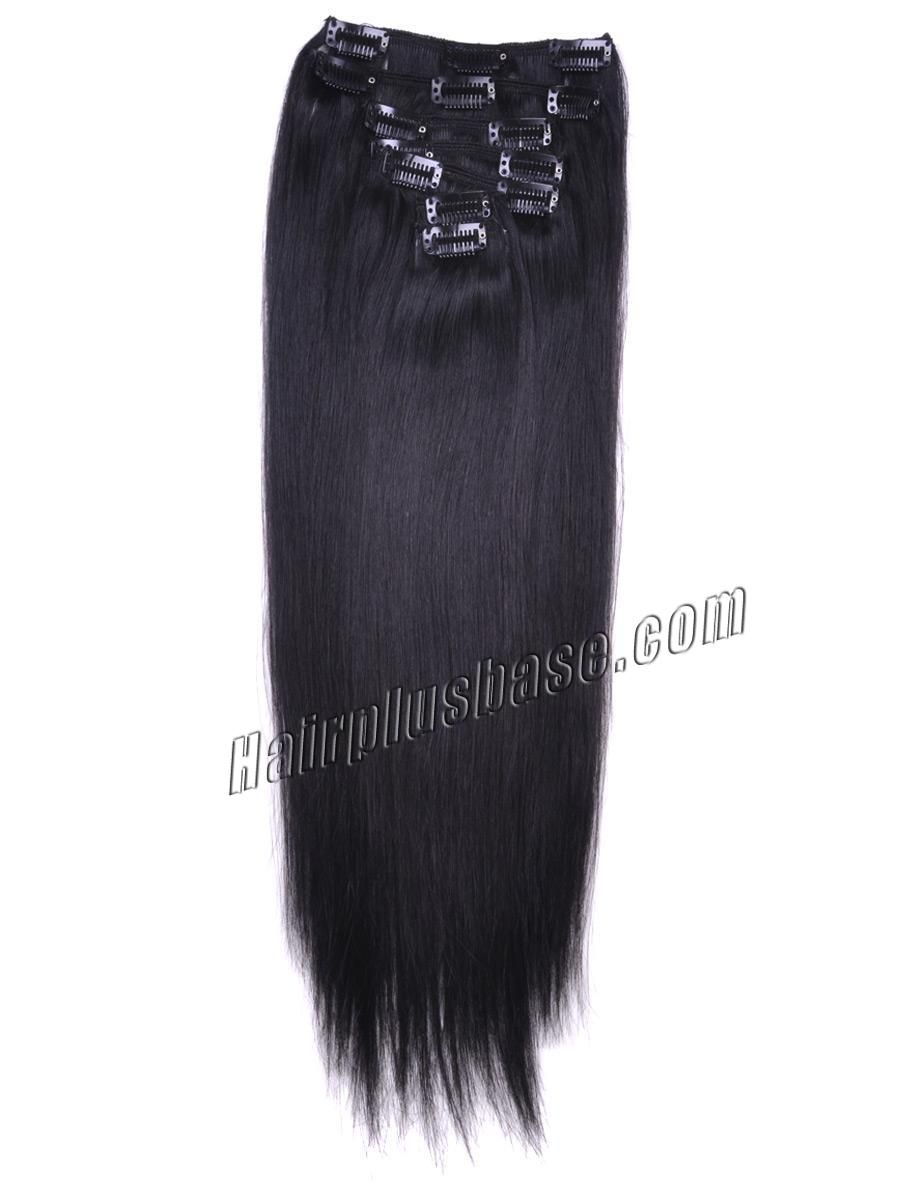 inch b natural black clip in remy human hair extensions pcs