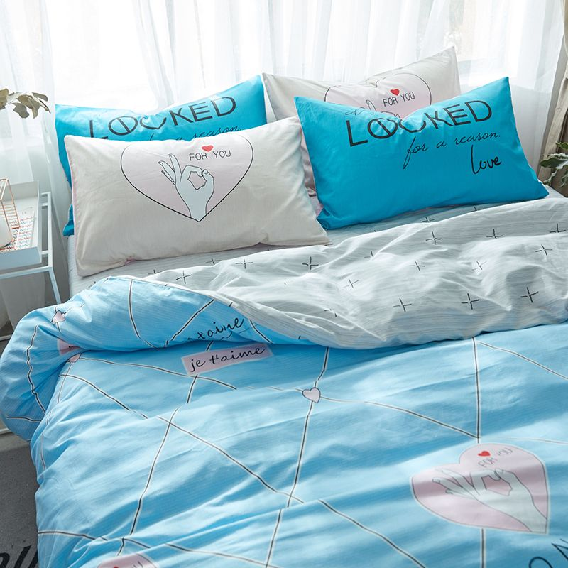 Blue Bedding Set Bedding Set Queen Size Fresh Simple Style Bed Cover Hearts Duvet Cover Sets Cotton Bedding Set Blue Bedding Sets Blue Bedding Duvet Cover Sets