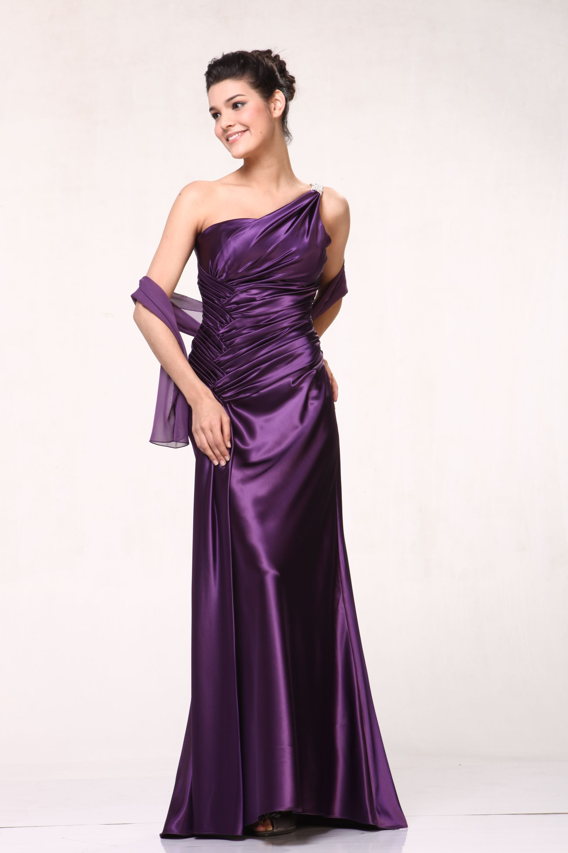 One Shoulder Ruched Long Bridesmaid, Long Prom & Homecoming Dress ...