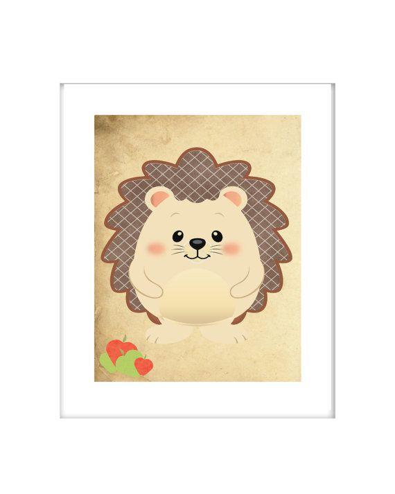 Woodland nursery wall print, Baby hedgehog Nursery, CANVAS, print ...