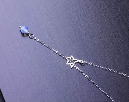 Imagen de sterling silver necklace, silver star necklace, and moonstone necklace