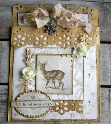 Gorgeous Gold & White Christmas Card...with punched lacy edges...Riddersholm Design.