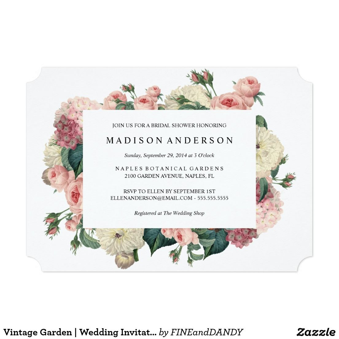 Vintage Garden | Wedding Invitation | Sister\'s wedding | Pinterest ...