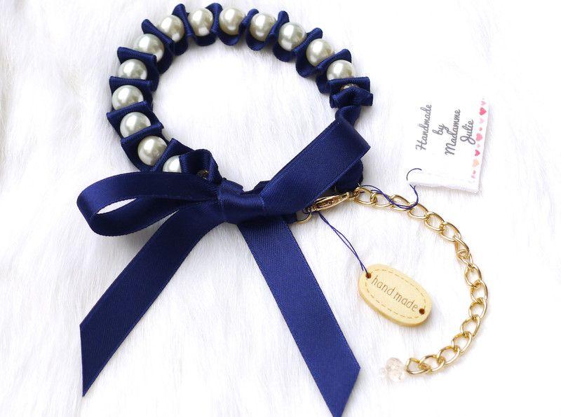 """BUY NOW!!! - Perlenarmband mit Satinschleife """"Royal Blue"""" - ein Designerstück von Madamme-Julie bei DaWanda"""