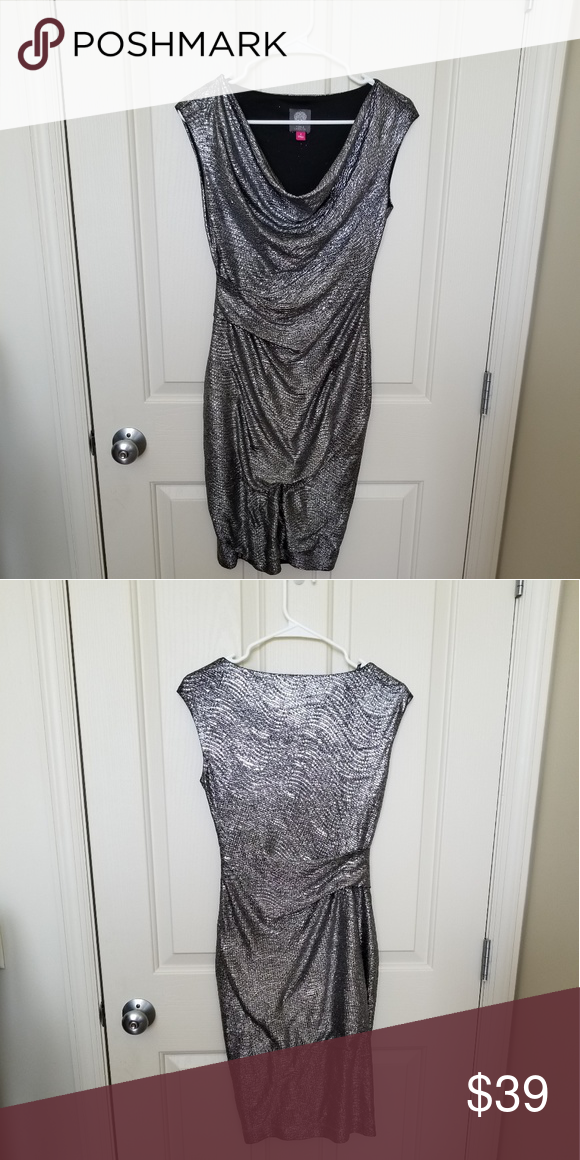 2532a059bfcf5a Gorgeous Vince Camuto Silver Cocktail Dress Size 4 I'm offering a stunning  Vince Camuto silver cocktail dress in a size 4. Bust: 16