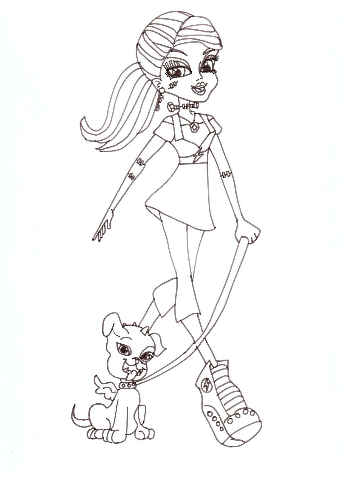 Monster High Free Printables   Frankie Stein with Watzit Coloring ...