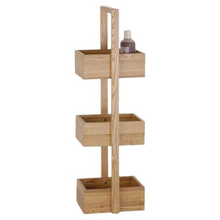 Crafted from solid oak, this 3tiered shower caddy is