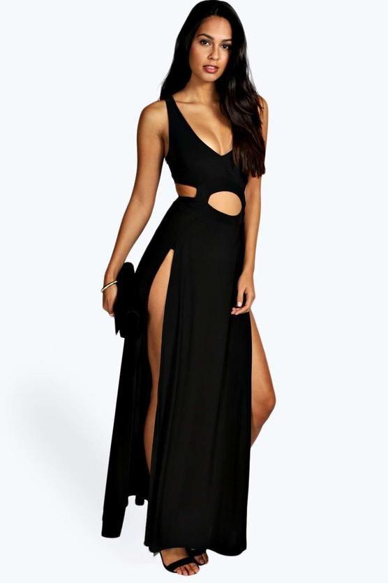 Boohoo Womens Slinky Thigh High Split Maxi Dress Navy - Dresses