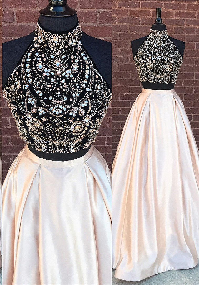 Gorgeous two piece beads long prom dress from dreamdressy long