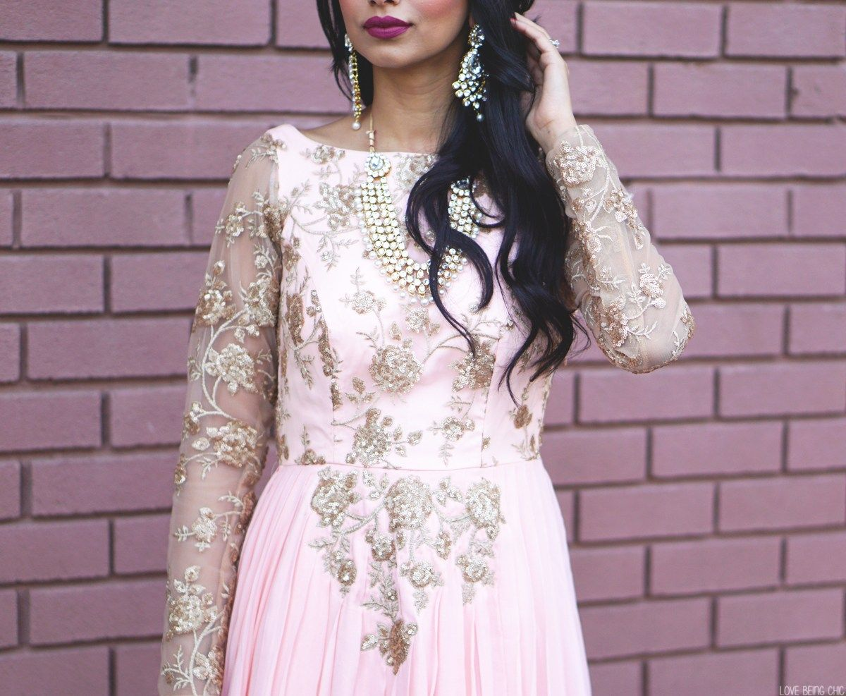Arshia wearing blush pink floral embroidered anarkali gown from IndiaBoulevard #indianfashion #saree #anarkali #lehenga #bollywood #indianoutfits #indianwedding #indianweddingdress #indianweddingoutfits #custommade #designdevelopdeliver #buycustom