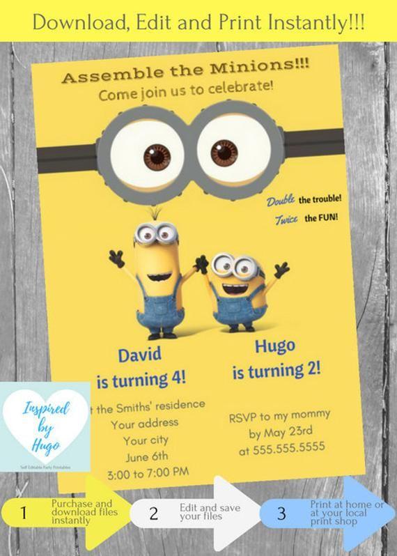 Minion Double Birthday Invitation Despicable Me Invite Boys Dual INSTANT DOWNLO