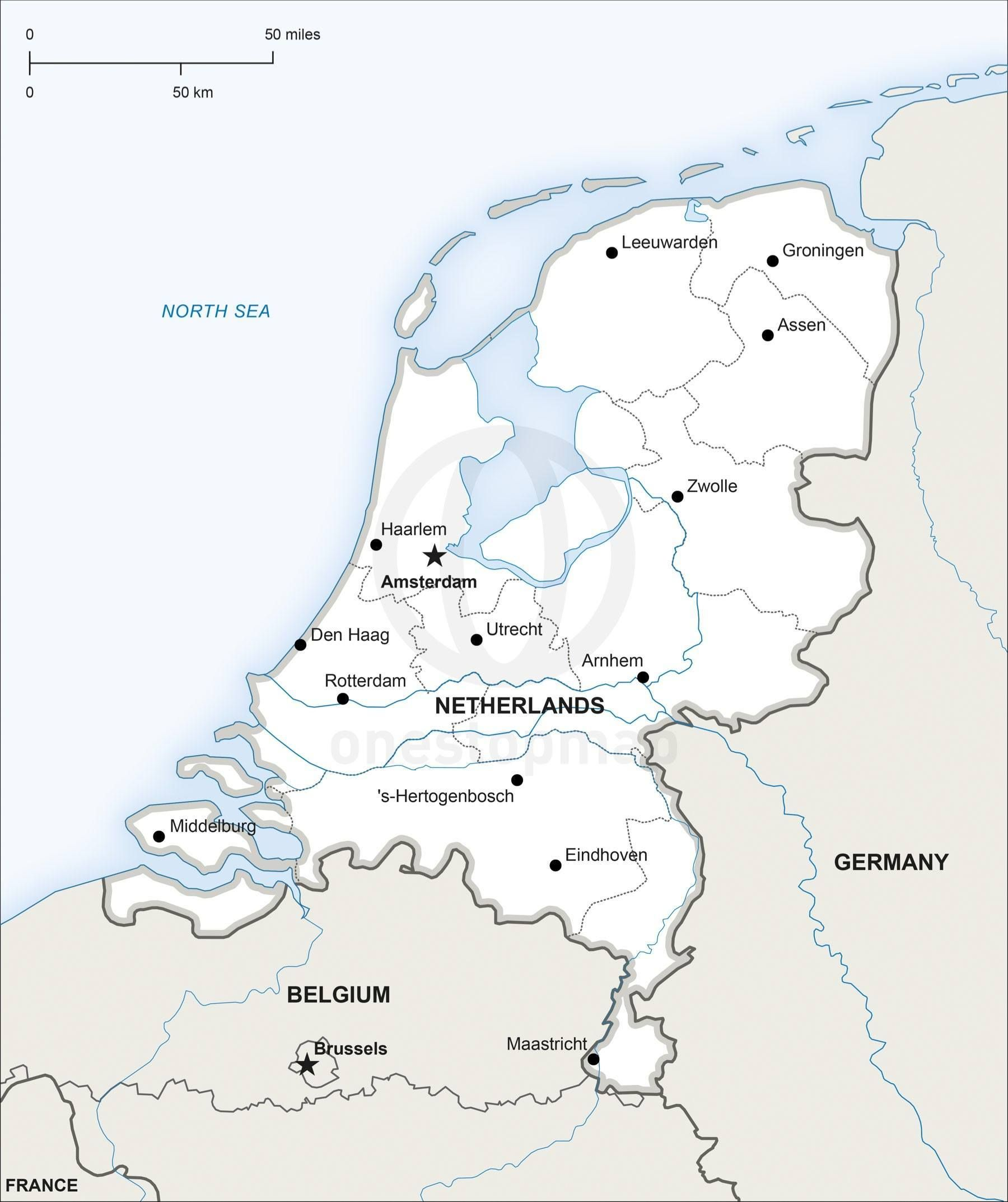 Map of Netherlands political in 2019 | Travel | Map vector, Map ...