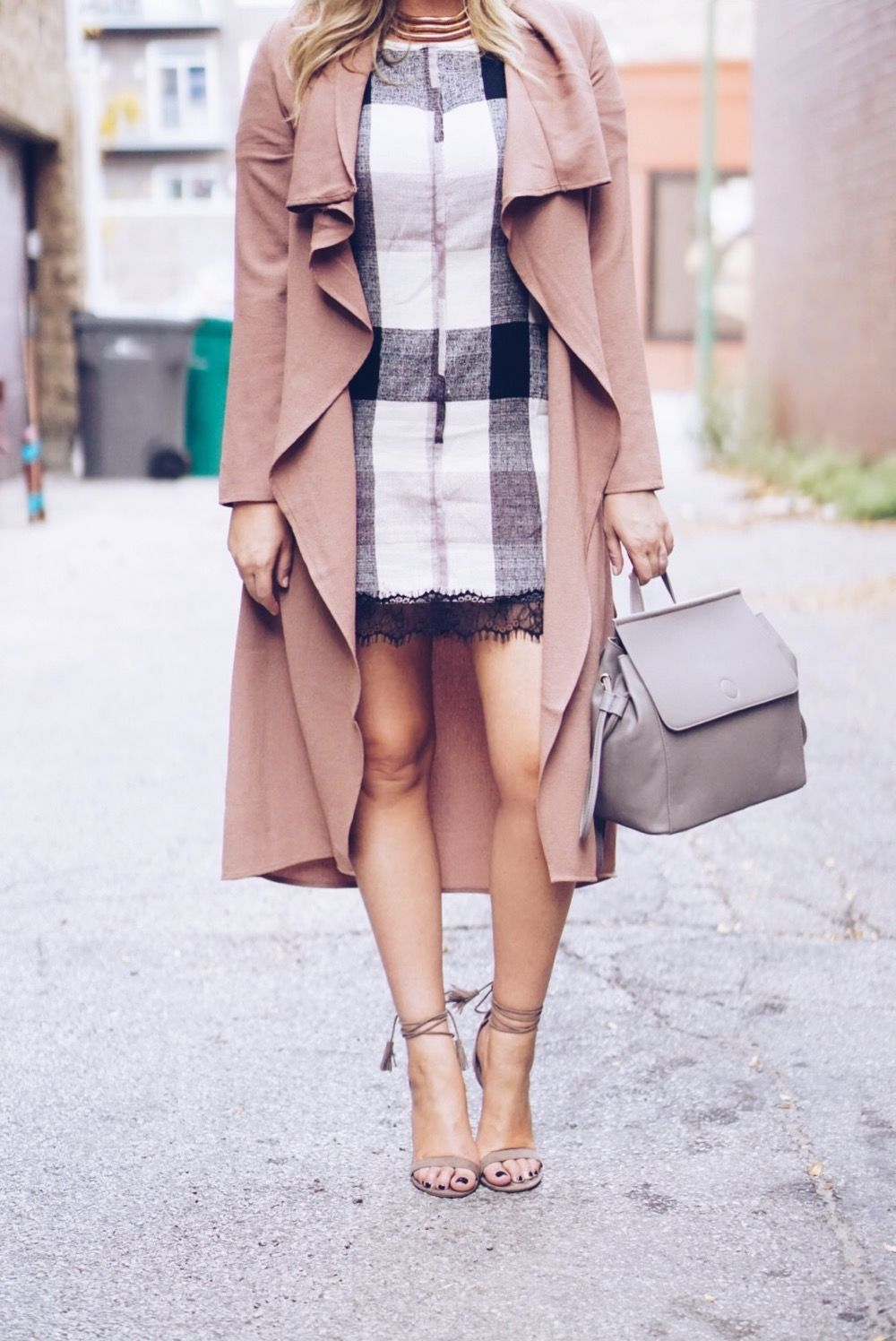 Layered blush fall duster and shift dress | Mad for Plaid on Her Tasty Life