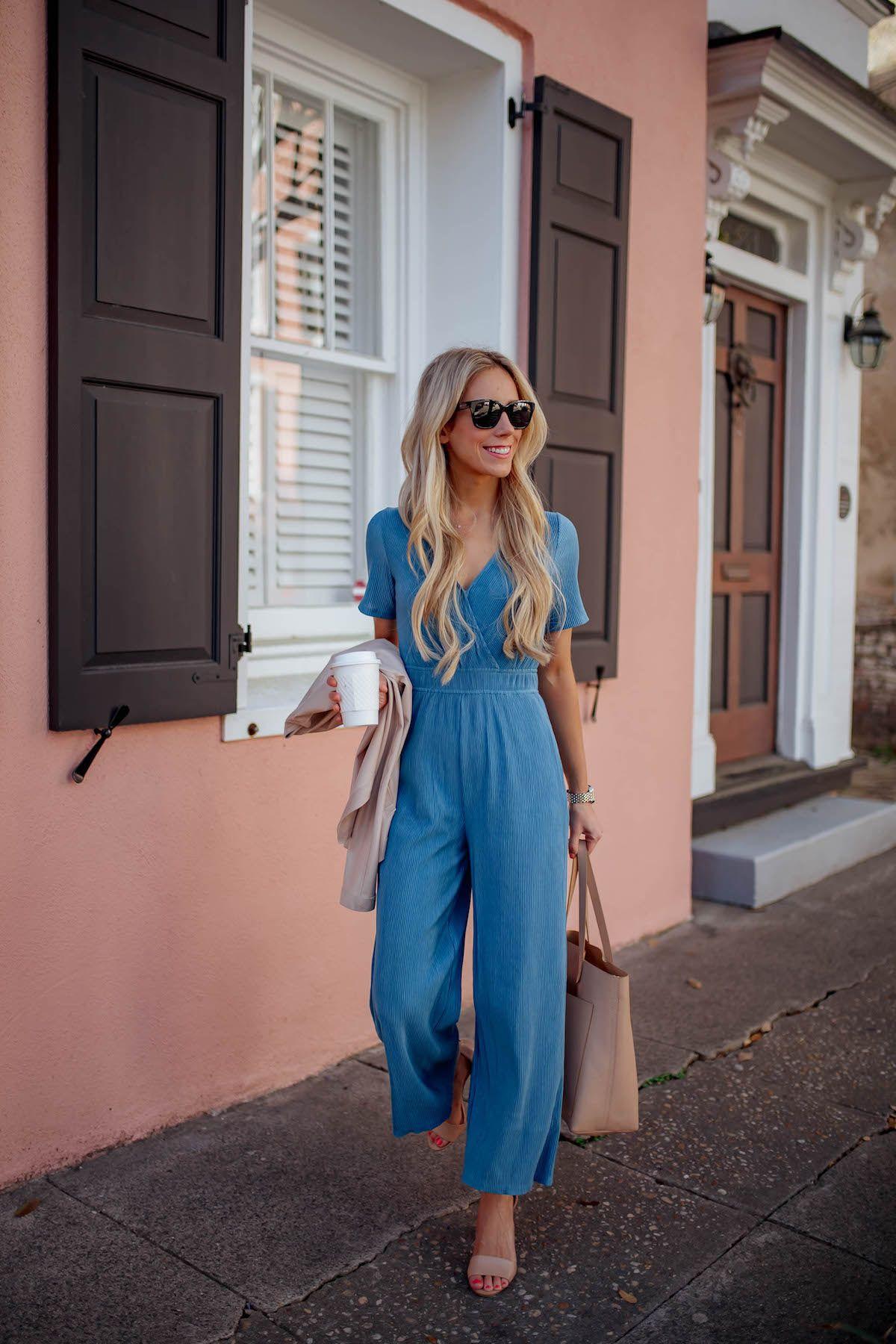 Blue wrap front jumpsuit chic pencil skirt business