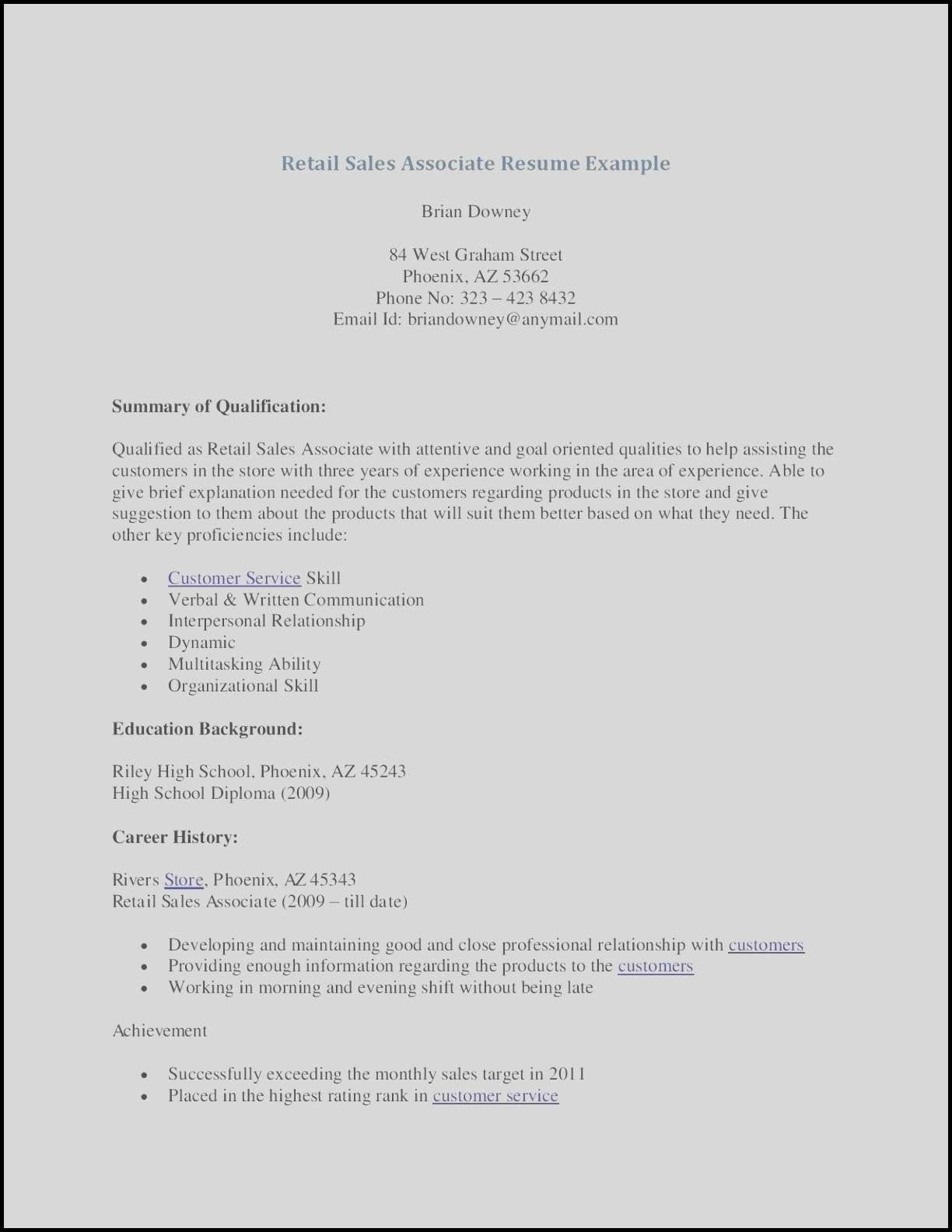 Sales Associate Resume Examples Retail Sales Resume Sample Lovely