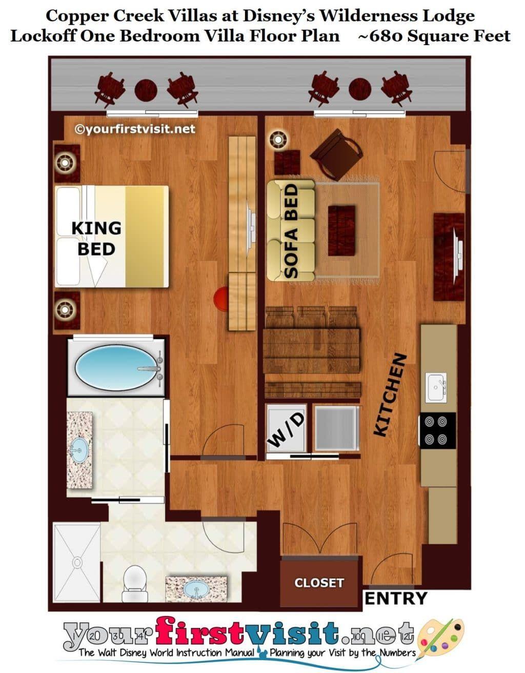 The Living Dining Kitchen Space Of One And Two Bedroom Villas At Disney S Copper Creek Villas Yourfirstvisit Net Copper Creek Beach Floor Plans Brick Wallpaper Bedroom