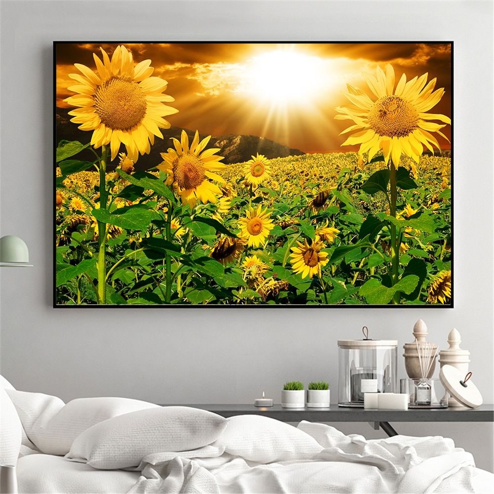 Sunflower Painting Rustic Home Decor Wall Pictures For Living Room Kitchen Decoration Landscape Post In 2020 Sunflower Art Print Landscape Wall Art Sunflower Painting #sunflower #theme #living #room