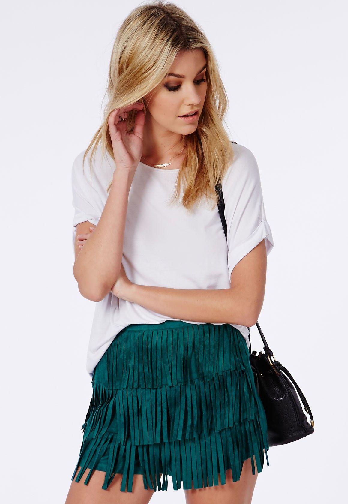 Fringe Faux Suede Shorts Jade Green - Shorts - High Waisted Shorts ...