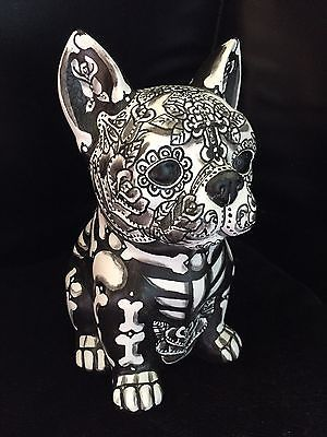 Hand Painted Day Of The Dead French Bulldog Bank Frenchie Sugar