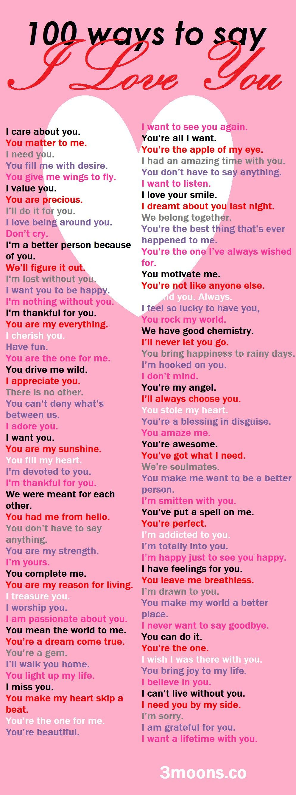 100 ways to say I Love You | Cute ideas | Relationship