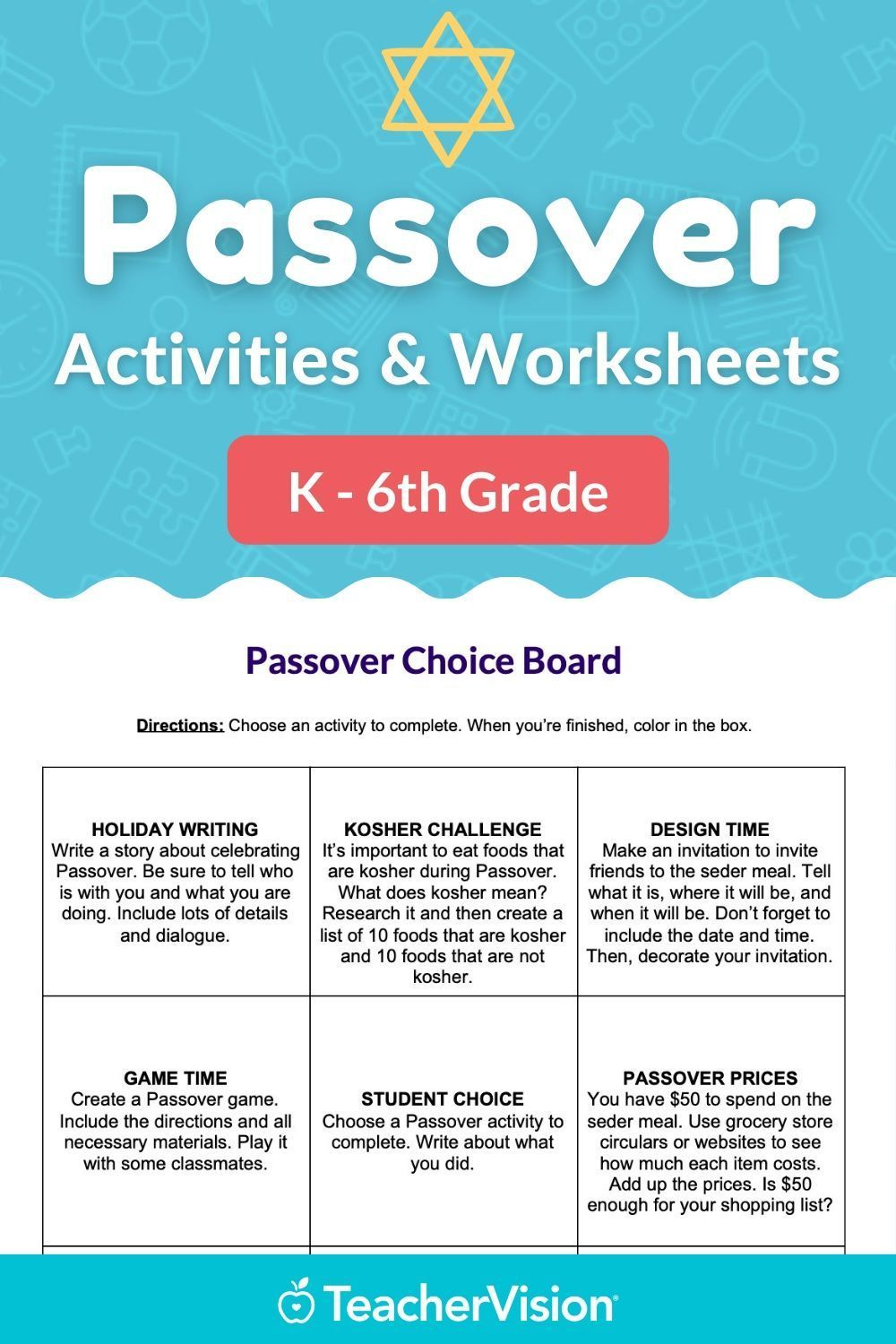 Passover Choice Board And Activities Packet In 2021 Passover Activities Holiday Writing Activities [ 1500 x 1000 Pixel ]