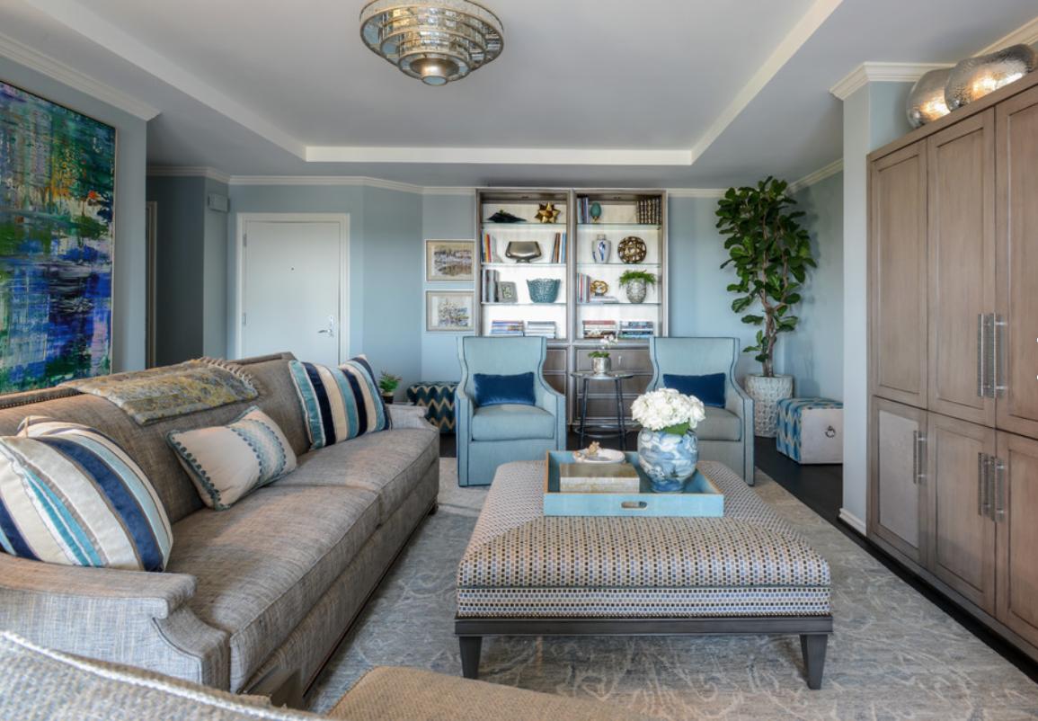 Dona Rosene Interiors Houzz Blue Living Room Light