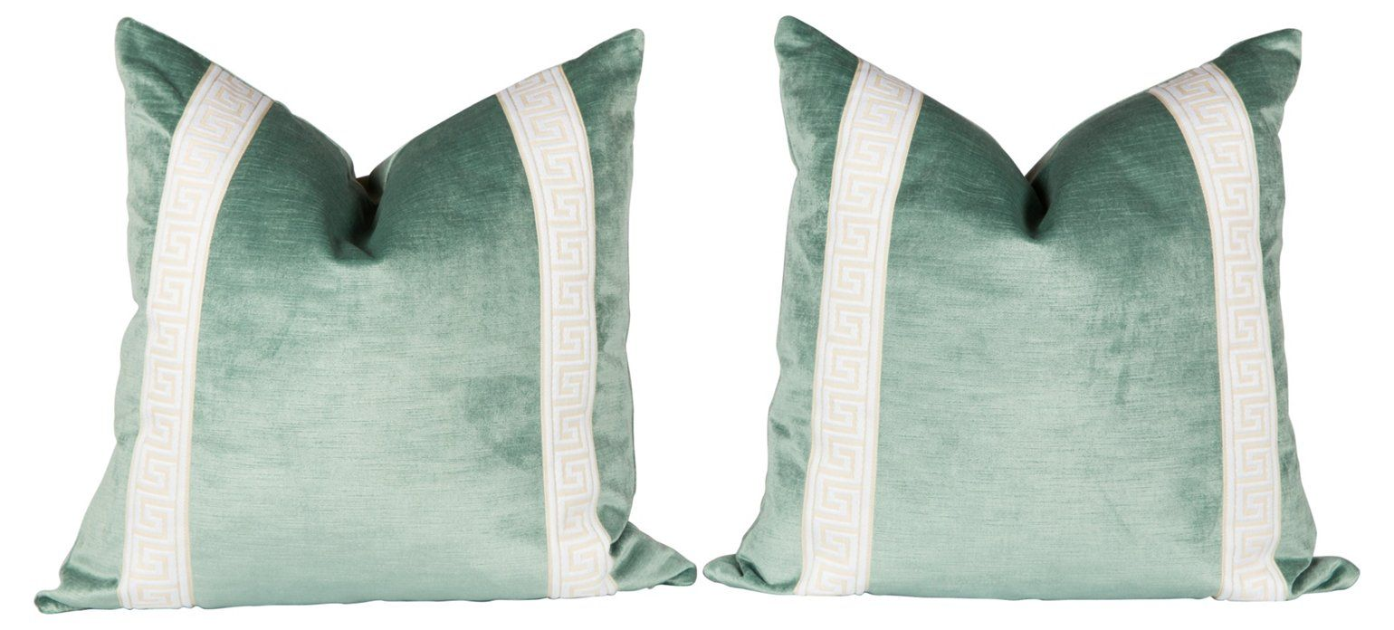 Seafoam Greek Key Velvet Pillows, Pair - Ivy and Vine - Brands  One Kings Lane #Velvet#Pillows#Key