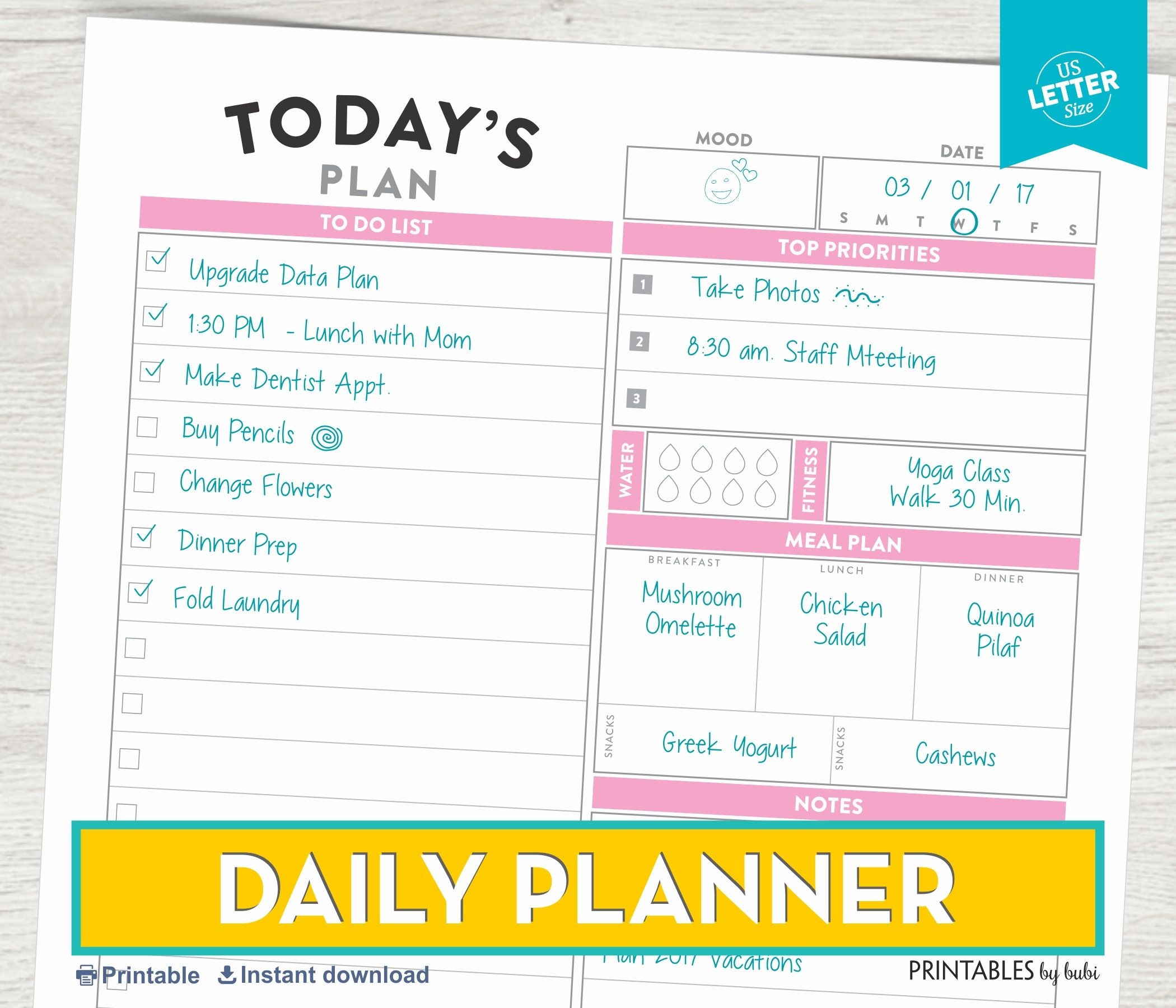 Daily Planner Printable Daily Planner Insert Printable