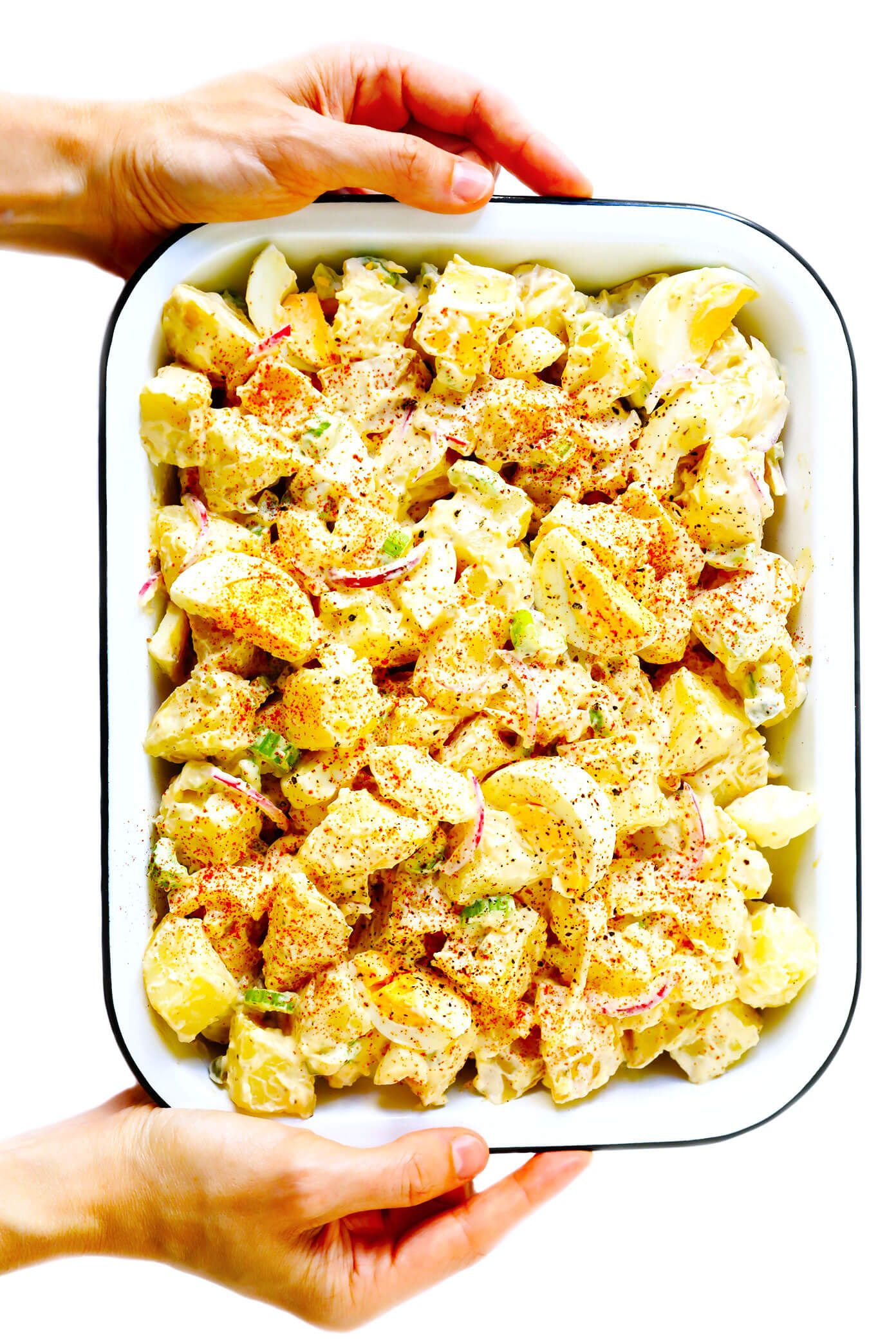 The BEST Potato Salad The BEST potato salad recipe!! Easy to make, naturally gluten-free, and always a crowd fave. Tips included for how to make yours with or without mayo, plus lots of other fun ingredients that you're welcome to add in (hello, bacon!). |