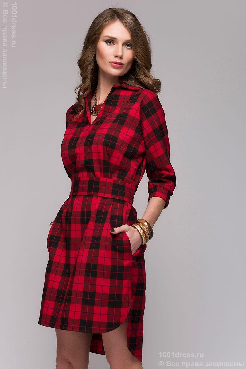 Красное платье в клетку с одним рукавом