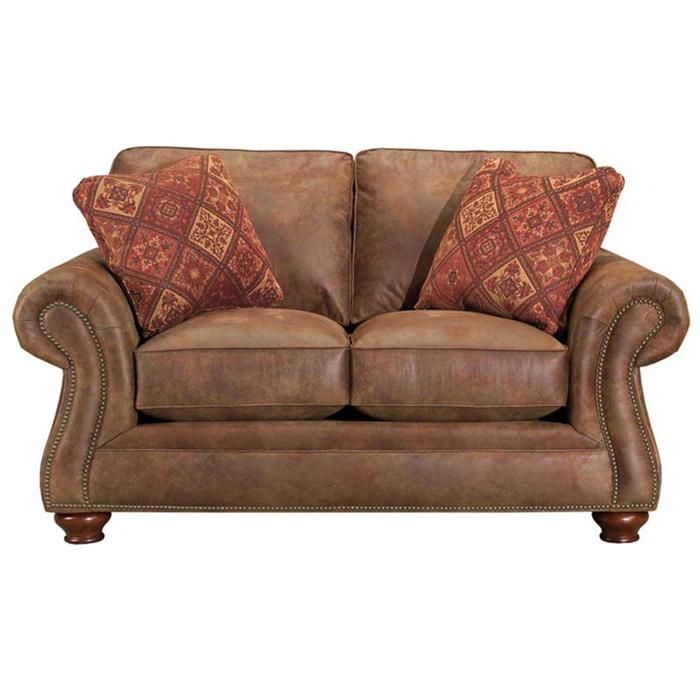 broyhill sofa nebraska furniture mart live soccer scores laramie loveseat with rolled arms and nailhead trim ...