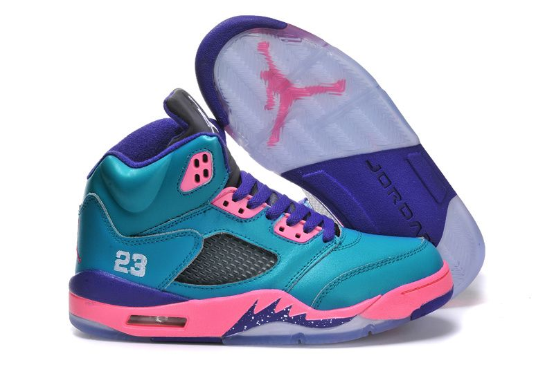 Women Air Jordan Retro 5 Teal Green Pink