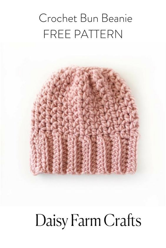 FREE PATTERN - Crochet Bun Beanie | Crochet hat patterns | Pinterest