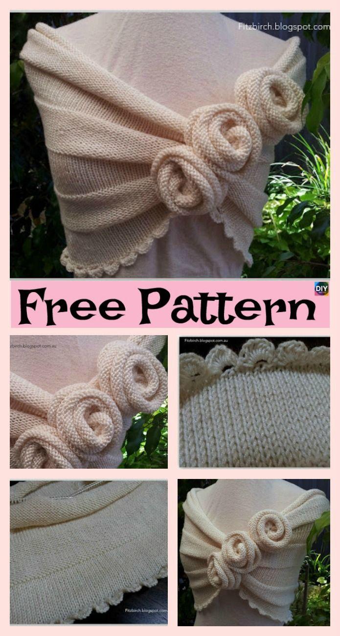 Beautiful Knit Rose Capelet - Free Pattern | bufandas, gorros ...