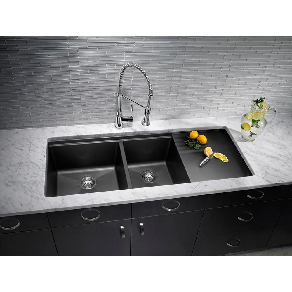 Blanco Precis Undermount Granite Composite 48 In 60 40 Double Bowl Kitchen Sink With Drainer In Anthracite 440408 The Home Depot Undermount Kitchen Sinks Double Bowl Kitchen Sink Blanco Kitchen Sinks Double bowl undermount kitchen sink