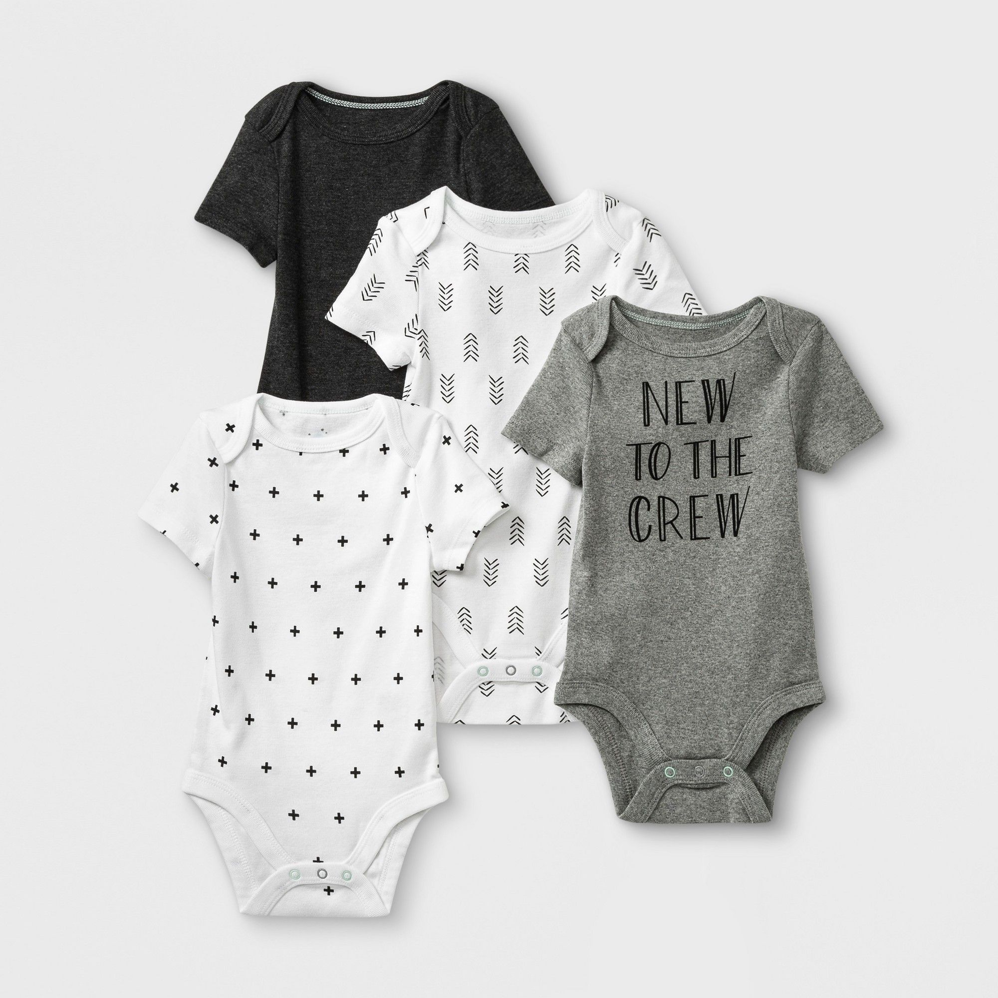 Cloud Island Unisex Baby 2-Piece Cotton Long Sleeve Gown Set Gray//White 0-6M