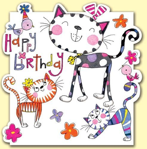 Cats And Birds Happy Birthday Card Amazoncouk Office Products