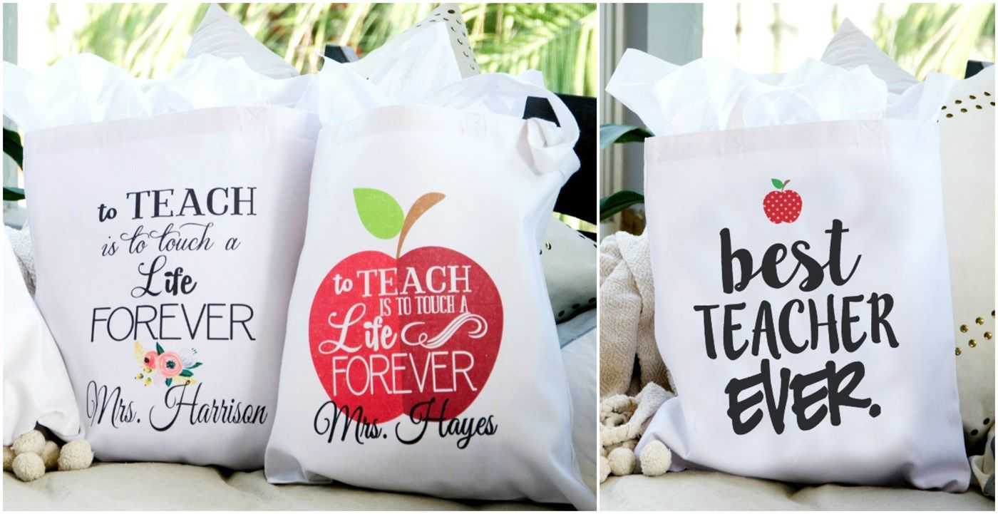 Personalized Canvas Teacher Totes Great Gift Idea Teacher Appreciation Gifts Personalized Canvas Tote Personalized Canvas Tote Bags