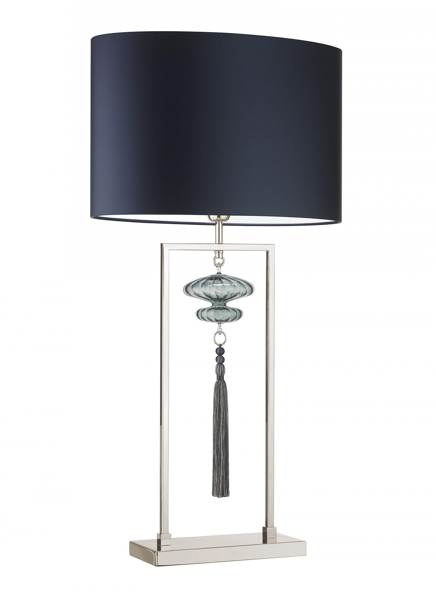 Heathfield Constance Large Nickel Opal Jade Table Lamp