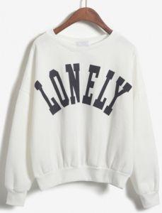 LONELY Print Crop White Sweatshirt