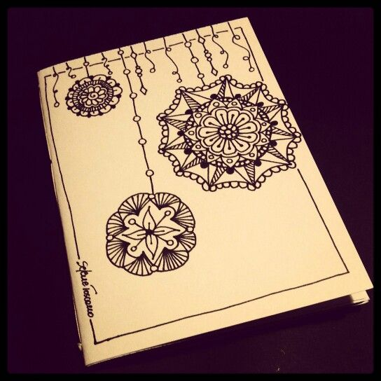 Illustrated Notebook Cover Zentangle Design Diy