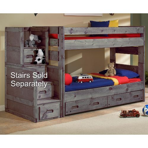 Rc Willey Kids Beds: Fort Driftwood Rustic Twin-over-Twin Bunk Bed With Storage