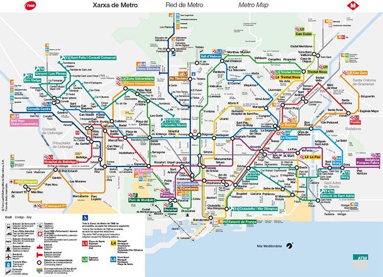 Mapa Transporte Publico Barcelona.Metrokaart Barcelona Barcelona Pinterest Barcelona