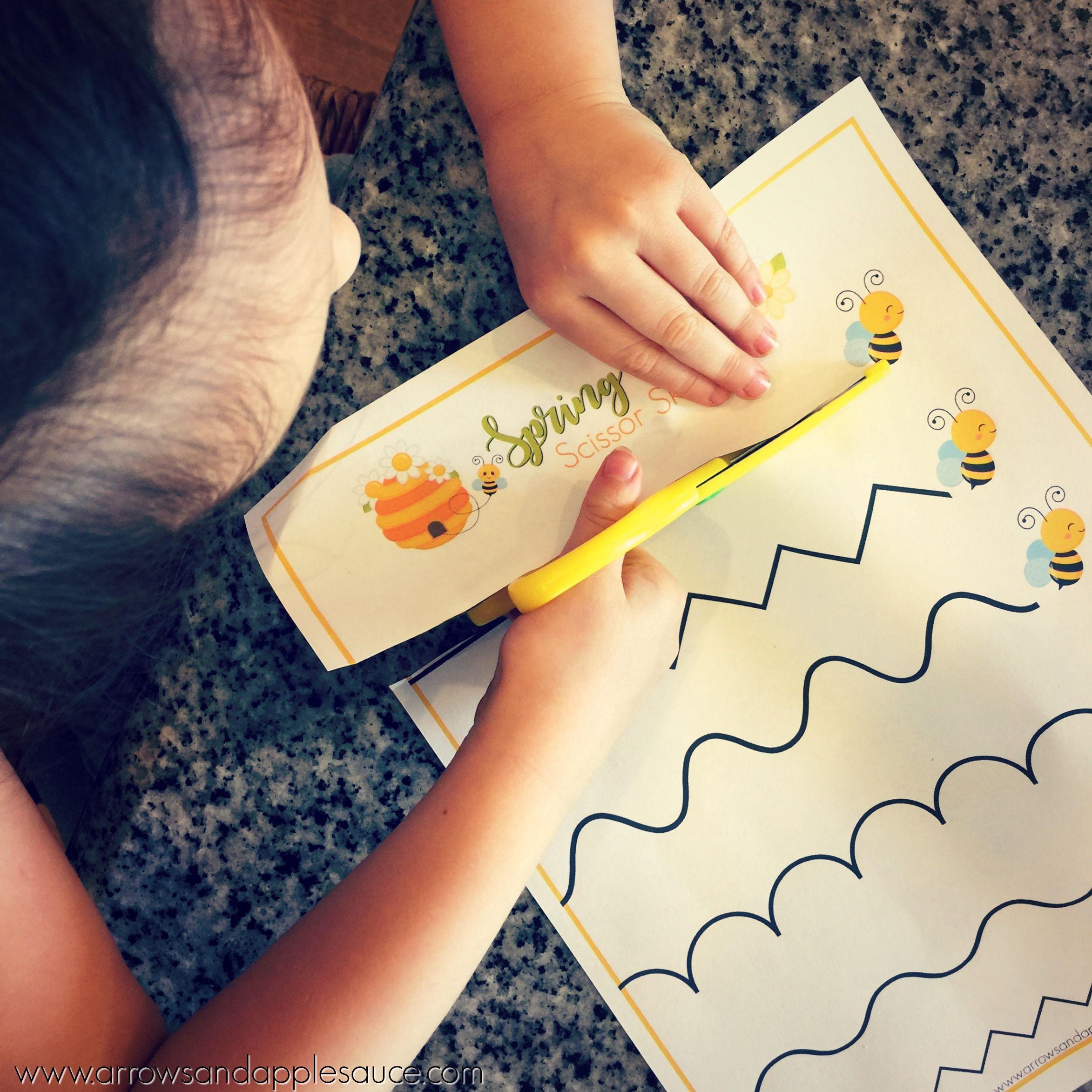 Spring Time Scissor Skills Printable Worksheets