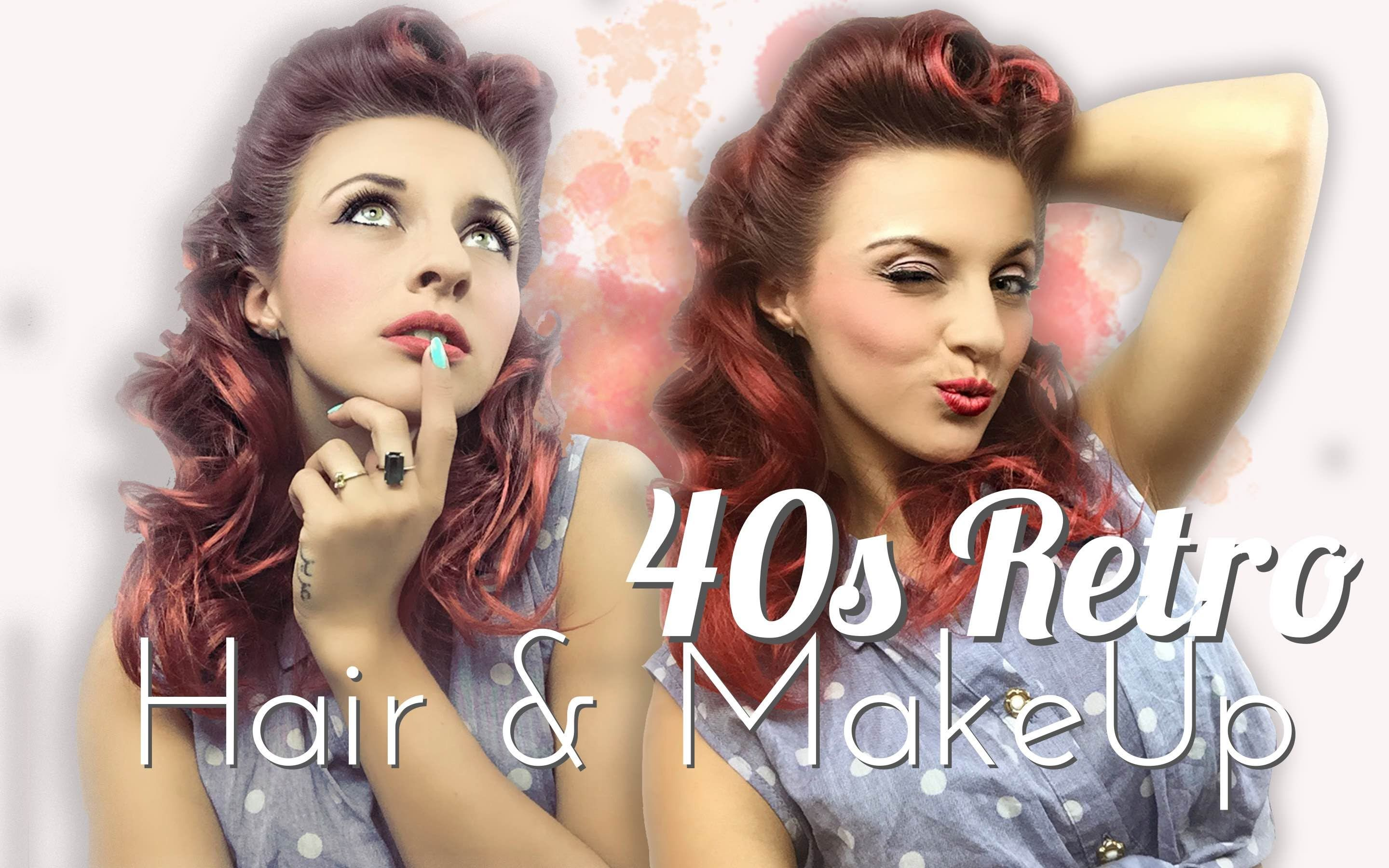 40s Retro PinUp Look Victory Roll Hair Make Up Tutorial Get