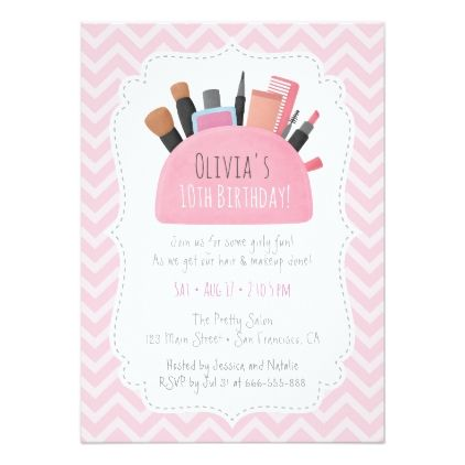 Pink Makeup Pouch Girls Birthday Party Invitations Girl Gifts