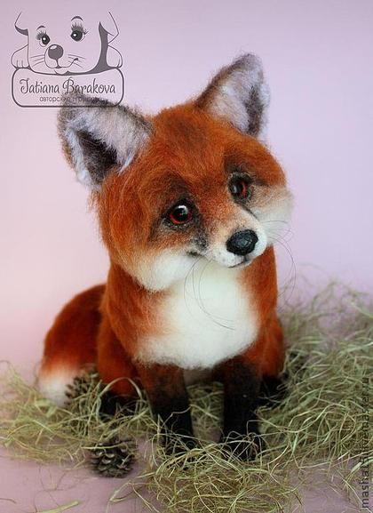 "*NEEDLE FELTED ART ~ Toy animals, handmade.  Fair Masters - handmade Fox ""Aksinja"" and fox ""Puhonya.""  Handmade."