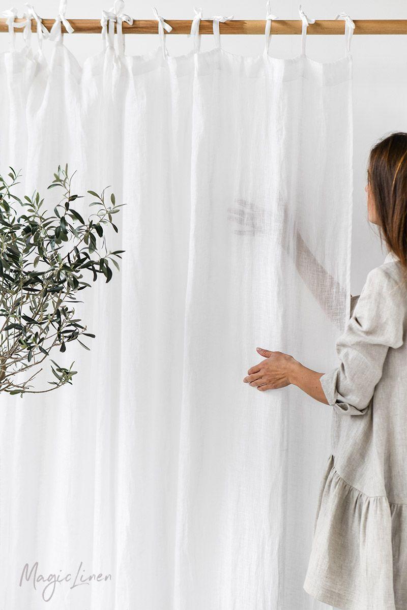Sheer Tie Top Linen Curtains Sheer Linen Curtains Linen