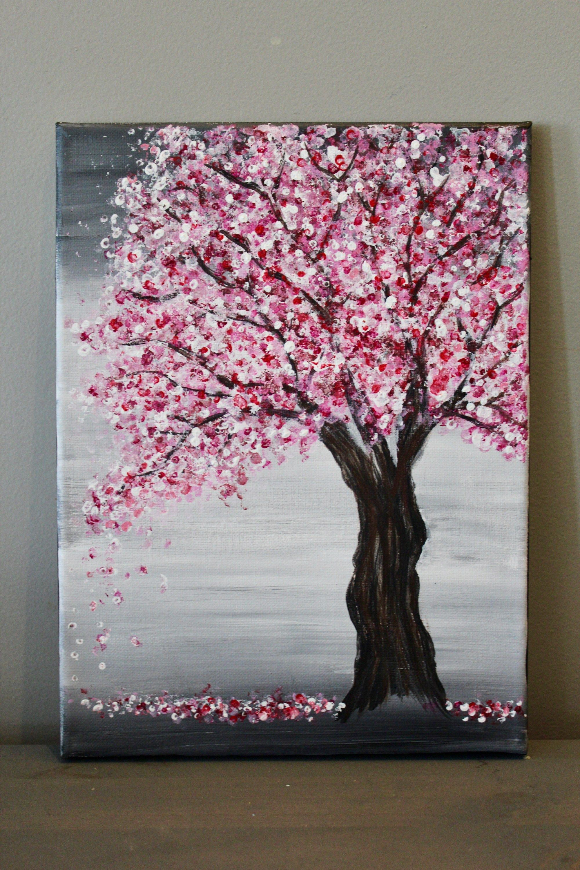 Looking For An Easy Cherry Blossom Tree Painting Tutorial Use A Canvas Acrylics U002 Cherry Blossom Painting Diy Canvas Art Painting Acrylic Painting Canvas