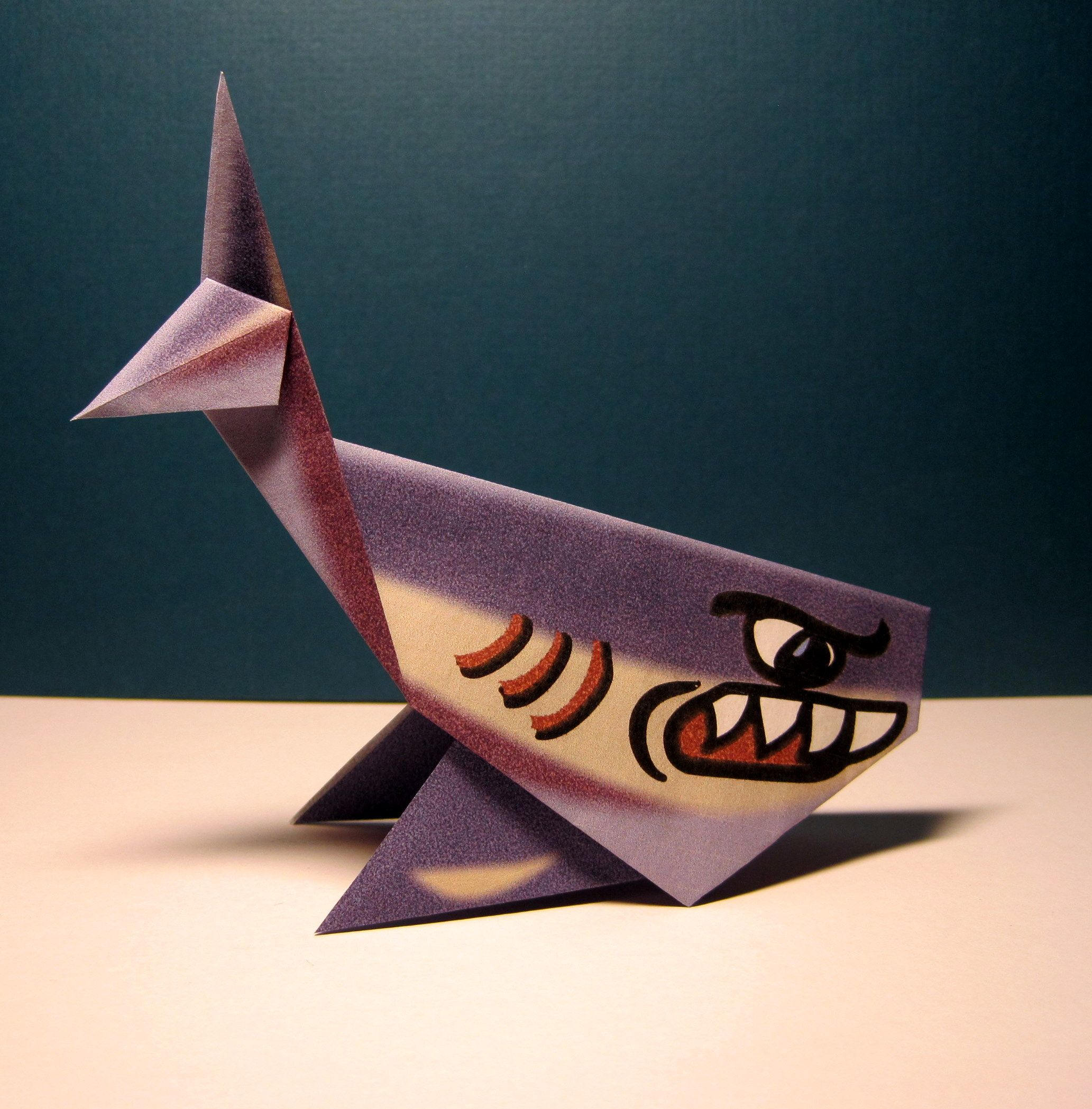 Origami Shark Folding Instructions Beach Birthday Party Diagram